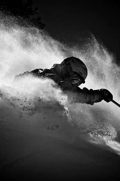 Photographic Print: A Male Skier Is Enclosed in Powder at Snowbird, Utah by Adam Barker : Snowbird Utah, Ski Racing, Snow Skiing, Ski And Snowboard, Extreme Sports, Surfing, Skateboard, Black And White, Outdoor