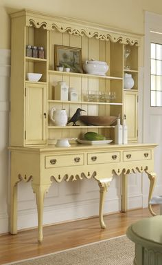 beautiful yellow hutch