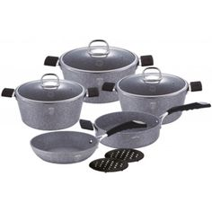 Set oale si tigai marmorate piese) din aluminiu forjat Gray Stone Touch Line Berlinger Haus BH Grey Stone, Sugar Bowl, Bowl Set, Touch, Gray, House, Grey
