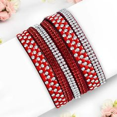 Fashion Pave Crystal Beaded Multi Wrap Red Velvet Snap Bracelet With Clear CZ Crystal Beads, Crystals, Skull And Crossbones, Steel Jewelry, Red Velvet, Pu Leather, Fashion Jewelry, Bracelets, Mystic