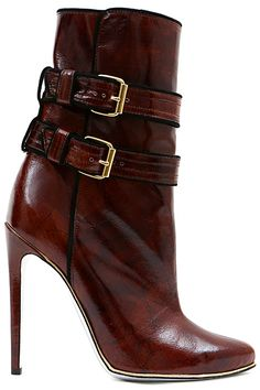 Balmain - Accessories - 2013 Pre-Fall ankle booties boots in brown leather