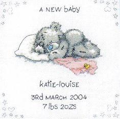 image of A New Baby Tatty Teddy Cross Stitch Kit Baby Cross Stitch Patterns, Cross Stitch Baby, Cross Stitch Kits, Cross Stitch Charts, Cross Stitch Designs, Tatty Teddy, Baby Embroidery, Cross Stitch Embroidery, Embroidery Patterns