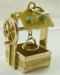 Wishing Well Charm Vintage 14k Gold Mechanical Gemstones Large Heavy 12 Grams | eBay