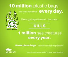10 million plastic bags are used every single day and kill 1 million sea creatures every year. www.sonati.org #recycle #reuse #plastic