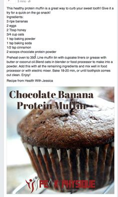 Chocolate Banana Protein Muffin Chocolate Banana Protein Muffin is part of Healthy protein muffins - Protein Powder Muffins, Chocolate Protein Muffins, Banana Protein Muffins, Protein Powder Recipes, Chocolate Protein Powder, Healthy Muffins, Healthy Protein, Healthy Sweets, Healthy Baking