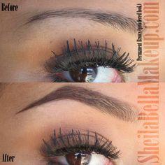 permanent brows, powdered look at Sheila Bella Makeup