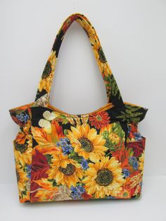 Sunflower Yellow Black Shoulder Bag, Travel Handbag, Diaper Bag, Black Red Green Bag, Tote Purse, Quilted Handbag, Sling Purse, Baby Bag by JustBeautiful161 on Etsy