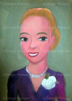 """""""Eva Peron"""", acrilico sobre lienzo,19 x 26 cm.  . By Diego Manuel"""