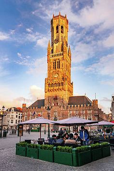 Bruges Belfry At Golden Hour Print by Barry O Carroll Bruges, Golden Hour, Belgium, Fine Art America, Building, Photography, Fotografie, Witches, Photograph