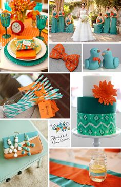 teal and orange table setting wedding - Google Search