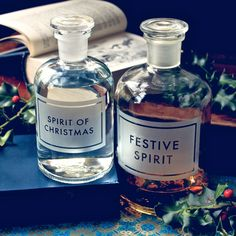 [festivespirits]  large etched apothecary bottles by www.vinegarandbrownpaper.co.uk winter christmas theme