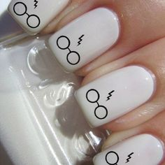 Harry Potter!  ⚯͛  All you need is white nail polish and a black nail pen! Super easy!