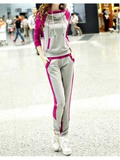 Color Block Casual Leisure Sport Wear Two Piece Set...i love the hoodie