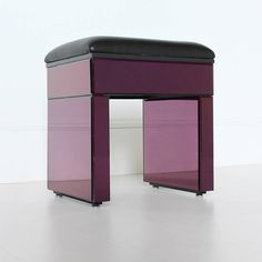 Purple Mirrored Stool With Recoverable Seat
