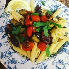 Officially two weeks of transition. I made pasta with eggplant tomato garlic kalamata olives parmigiana and mint. #vegetarian #vegan #food #foodporn #veggie #foodie #healthy #recipe #veganism #whatveganseat #healthyfood