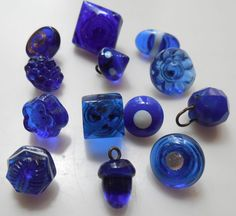 VICTORIAN COBALT/BLUE CHARM STRING SWIRL BACK GLASS BUTTONS LOT OF 11