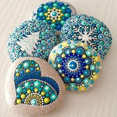 Likes, 22 Comments - Mandalas and painted rocks (Create And Cherish) on In. - Jackie Carroll - All about: Steinkunst - Wintermode Dot Art Painting, Rock Painting Designs, Mandala Painting, Pebble Painting, Pebble Art, Stone Painting, Mandala Painted Rocks, Mandala Rocks, Hand Painted Rocks