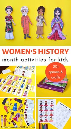 Celebrate Women's History month and explore the topic of famous women in history for kids through games, crafts and hands-on activities! Creative Activities For Kids, Kids Learning Activities, Hands On Activities, Creative Kids, Teaching Kids, Preschool Ideas, Asian History, African American History, British History