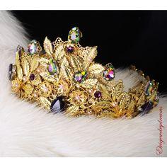 Gold Purple Crown Emerald Amethyst Swarovski Crystals Headband Wedding... ($79) ❤ liked on Polyvore featuring accessories, hair accessories, grey, headbands & turbans, gold bridal headband, tiara crown, bridal hair accessories, head wrap turban and turban headband
