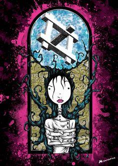 """""""Her"""" Affiche originale, créée à partir d'une dessin Noir et Blanc retravaillé sur ordinateur. Entre art illustratif et peinture numérique, cette affiche aux allures de tatouage est disponible en format A3 où sur commande en format: 40*60 cm à 16€ et 80*120 cm à 40 euros."""