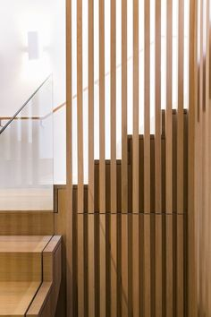 Modern Stairs // wood stairs and handrail detail at a South Melbourne House / Mitsuori Architects Interior Stair Railing, Stair Handrail, Staircase Design, Open Staircase, Staircase Ideas, Railings, Spiral Staircases, Contemporary Stairs, Modern Stairs