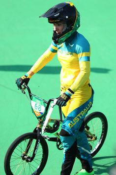 Caroline Buchanan of Australia reacts after crashing out during the Women's Semi… Olympic Team, Olympic Games, Bicycle Girl, Bike, Sports Awards, Bmx Racing, Rio Olympics 2016, Semi Final, Rio 2016