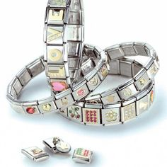 Italian charm bracelets by Nomination every charm i have on mines i bought in italy i wear it every day even though they ARE not in fashion any more.i love mines Nomination Charms, Nomination Bracelet, Unique Bracelets, Link Bracelets, Charm Braclets, Retro, Personalized Bracelets, Gold Price, Heart Charm