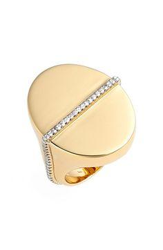 Women's Rachel Zoe 'Melina' Pave Signet Ring - Gold