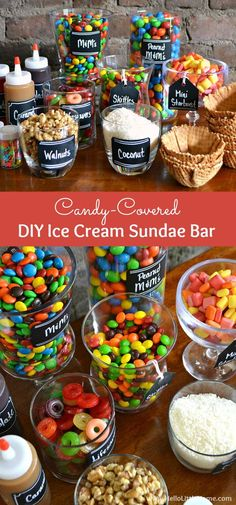 Candy-Covered DIY Ice Cream Sundae Bar ... an easy way to create summer time fun! Learn how to set up a sundae bar, including ideas for sundae toppings, decorations, and display. A fun + easy party idea for weddings, birthdays, baby showers, graduations,