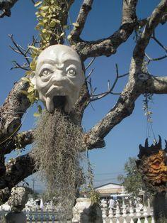 Stone heads on trees, White temple, Chiang Rai, Thailand
