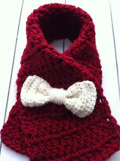 Crochet+Toddler+Bow+Scarf+Dark+Red+with+Ivory+by+ChucksForChancho,+$16.00
