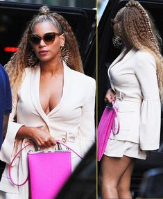 Beyonce was spotted out looking VERY PREGNANT in New York City. Beyonce once again protectively covers her stomach amid lingering pregnancy rumors as she gets Beyonce Show, Beyonce Style, Beyonce Pictures, Celebrity Pictures, African Braids Hairstyles, Twist Hairstyles, Black Box Braids, Beyonce Braids