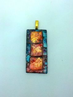 Eggshell Mosaic Pendant Necklace with Layers in Shades of Blue and Brown