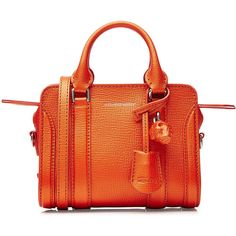 Alexander McQueen Mini Padlock Leather Shoulder Bag ($1,375) ❤ liked on Polyvore featuring bags, handbags, shoulder bags, orange, leather purse, leather skull purse, red leather handbag, orange purse and red purse