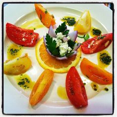 Vine-Ripened Summer Tomato Salad with Crumbled Blue Cheese & Pine Nuts ...