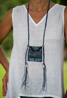 Blue necklace :exotic piece with a true indigo blue Batik from traditional skirts worn by Dao -:- AMALTHEE -:- n° 3307