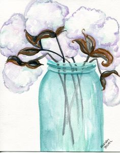 Cotton Bolls blue canning jar original watercolor painting, 8 x cotton painting, cotton art, original painting of cotton bolls by SharonFosterArt on Etsy(Cotton Top Ideas) Contemporary Abstract Art, Modern Art, Watercolor Paintings, Original Paintings, Cotton Painting, Alphonse Mucha Art, Popular Art, Painting & Drawing, Madonna