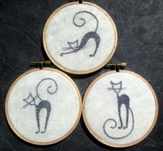 Sassy Cat Trio hand embroidered hoop art home decor wall decoration by mlmxoxo by mlmxoxo on Etsy https://www.etsy.com/listing/106457075/sassy-cat-trio-hand-embroidered-hoop-art