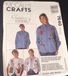 Mccalls-Crafts-Pattern-7640-Appliques-For-Shirt-Jacket-Vest-Uncut