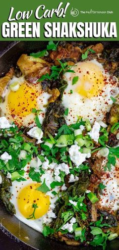 Flavor-packed quick green shakshuka with power greens like spinach & kale + perfectly poached eggs! Serve it for breakfast, lunch or dinner! #shakshuka #greenshakshuka #eggs #mediterraneandiet