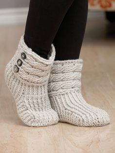 Crochet a Pair of Cute Boots to Keep Your Feet Warm Crochet a Pair of Helix Crochet Boots Get the Pattern Crochet Boots Pattern, Crochet Slipper Boots, Annie's Crochet, Knitted Slippers, Slipper Socks, Crochet Slippers, Crochet Crafts, Crochet Patterns, Knit Boots