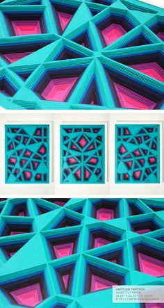 The fine paperworks of Caryn Ann Bendrick, an artist whose paper based works are tactile meditations on repetition and the dichotomy of destruction and creation. Modern Art, Contemporary Art, Papercutting, Paper Artist, Cut Paper, Triptych, Art Object, Geometry, Ann