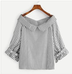 Casual Striped Top Regular Fit V neck Three Quarter Length Sleeve Flounce Sleeve Grey Regular Length Foldover Vertical Striped Blouse Spring Blouses, Spring Shirts, Grey Fashion, Fashion Outfits, Indian Blouse, Designs For Dresses, Striped Fabrics, Couture, Types Of Sleeves
