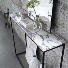 Mahaut Marble Console Table AM.PM Striking and eye-catching, marble never fails to steal the show. In a sleek and slimline design, this console table will add the wow factor to. Marble Console Table, Entryway Console Table, Entrance Table, Dining Table, Console Tables, Marble Tables, Hall Tables, Foyer, Glass