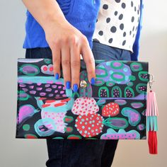 Image of Leather Clutch Bag with Abstract Hand Painted Fruit Patterns with Leather Tassel