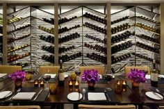 Glass wine display wall.  Inside NYC's Coolest New Hotel (Yes, It's In Times Sq.!)  #refinery29  http://www.refinery29.com/paramount-hotel#slide-3  All the wine you can drink at the Grill! Photo: Courtesy of Paramount Hotel...