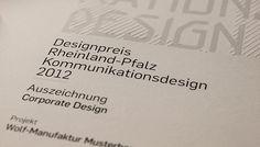 Urkunde vom Designpreis Rheinland-Pfalz