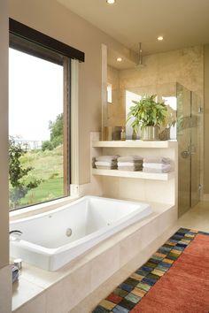 Master Bathroom idea - extend bath, shelves, seamless shower walkin