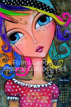 Face. ROMI LERDA Artista plastica. PAGE. SPACE GALLERY ART Pop Art, Art Fantaisiste, Art Visage, Art Populaire, Whimsical Art, Portrait Art, Face Art, Art Lessons, Painted Ladies