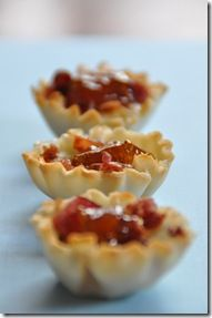 Bacon, Brie and Fig Phyllo Cups - a perfect use for our Fig Almond Spread and Athens Fillo Shells! New Years Appetizers, Thanksgiving Appetizers, Holiday Appetizers, Holiday Recipes, Holiday Foods, Party Recipes, Summer Recipes, Phyllo Cups, Phyllo Dough